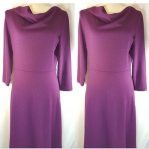 Lands End stretch Eggplant dress with cowl